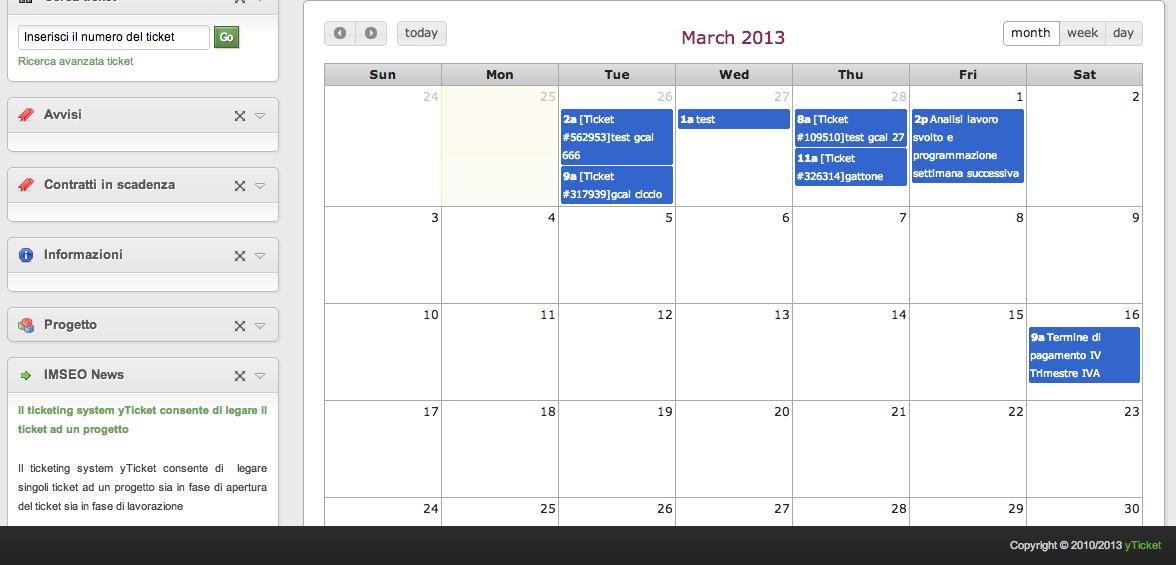 yticket help desk software calendario