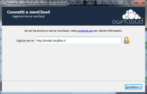 configurazione client cloudbox owncloud su windows step 1